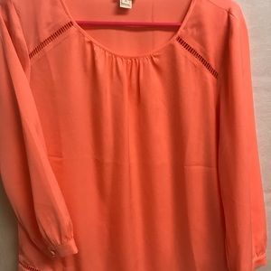J. Crew Coral colored long sleeve blouse-Small